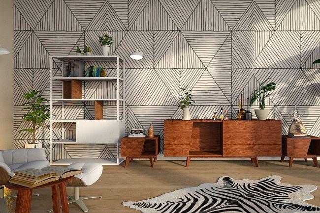 Extravagantný koberec v interiéri.