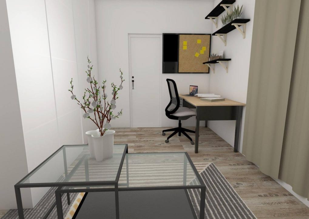 Hosťovská izba / pracovňa / šatník - Návrh bytu v prírodnom štýle