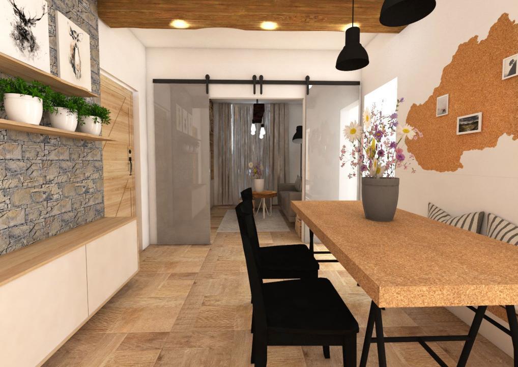 Obývacia izba a spoločenská hala - Návrh bytu v prírodnom štýle