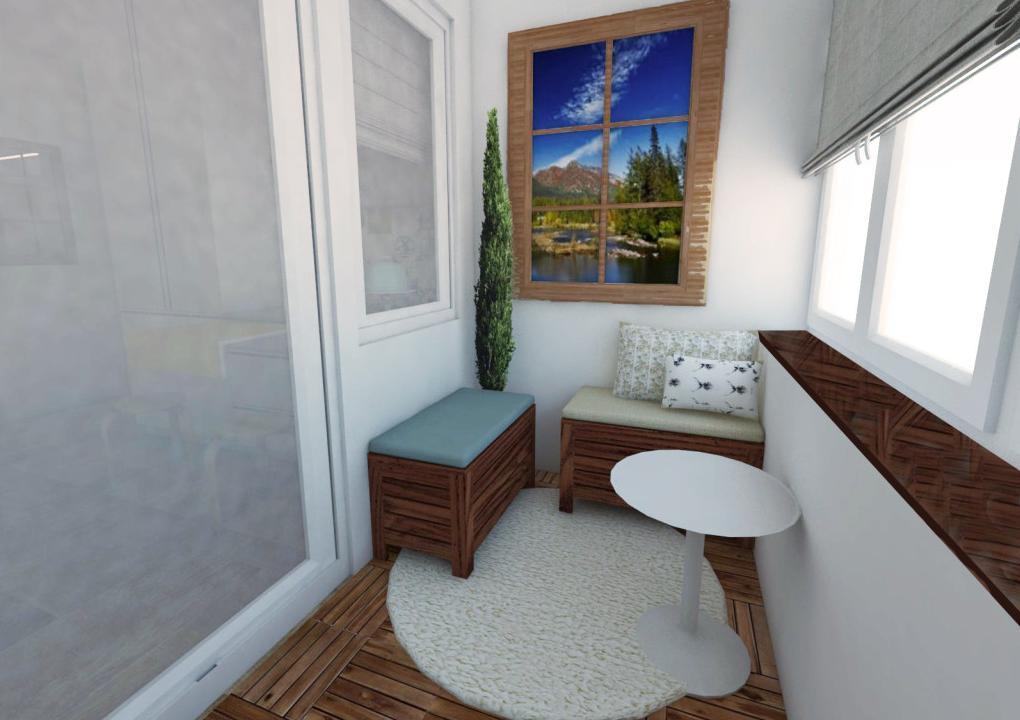 Balkón - Návrh bytu v prírodnom štýle
