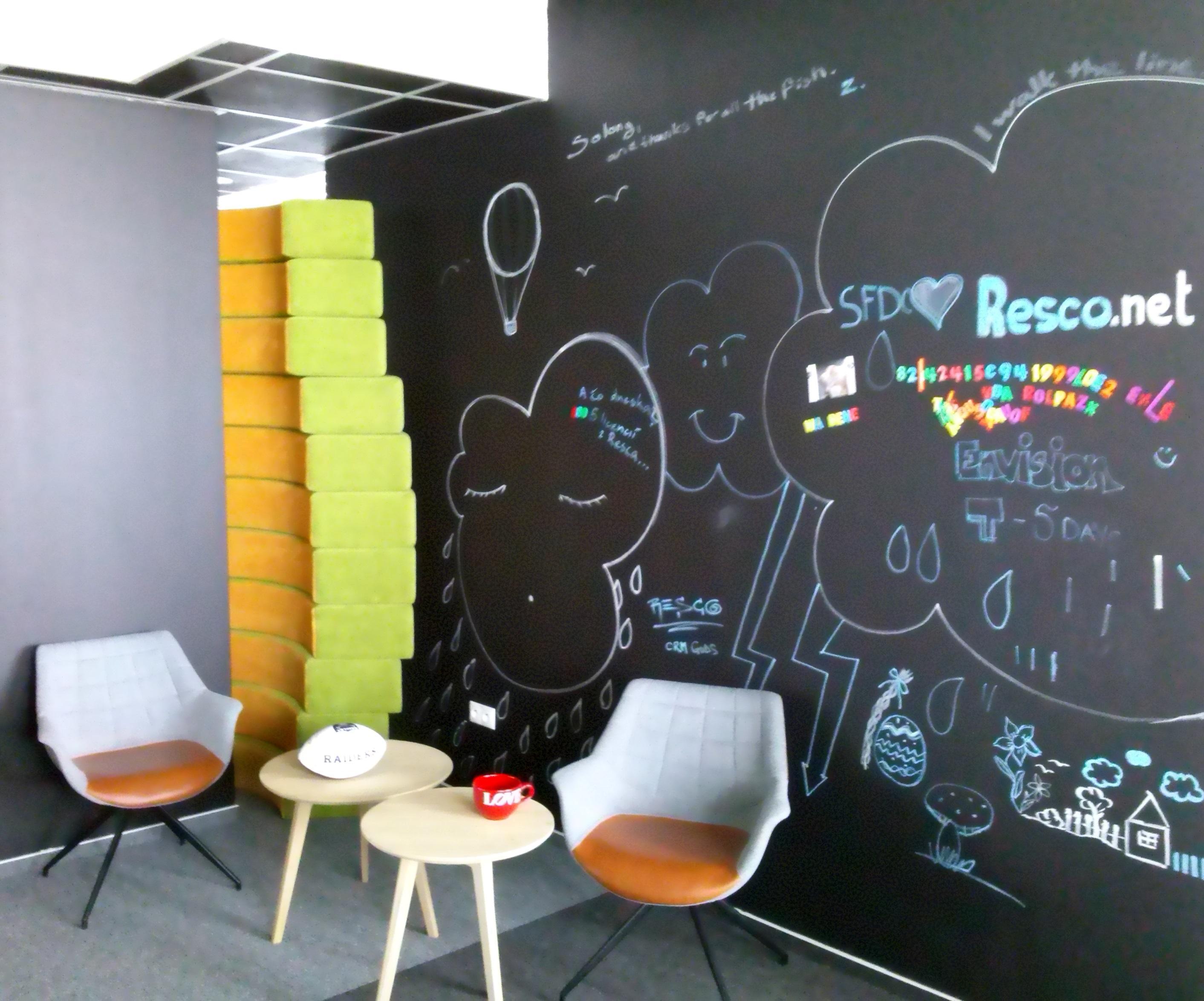 Chill out zóna spoločnosti Resco - tabuľová stena