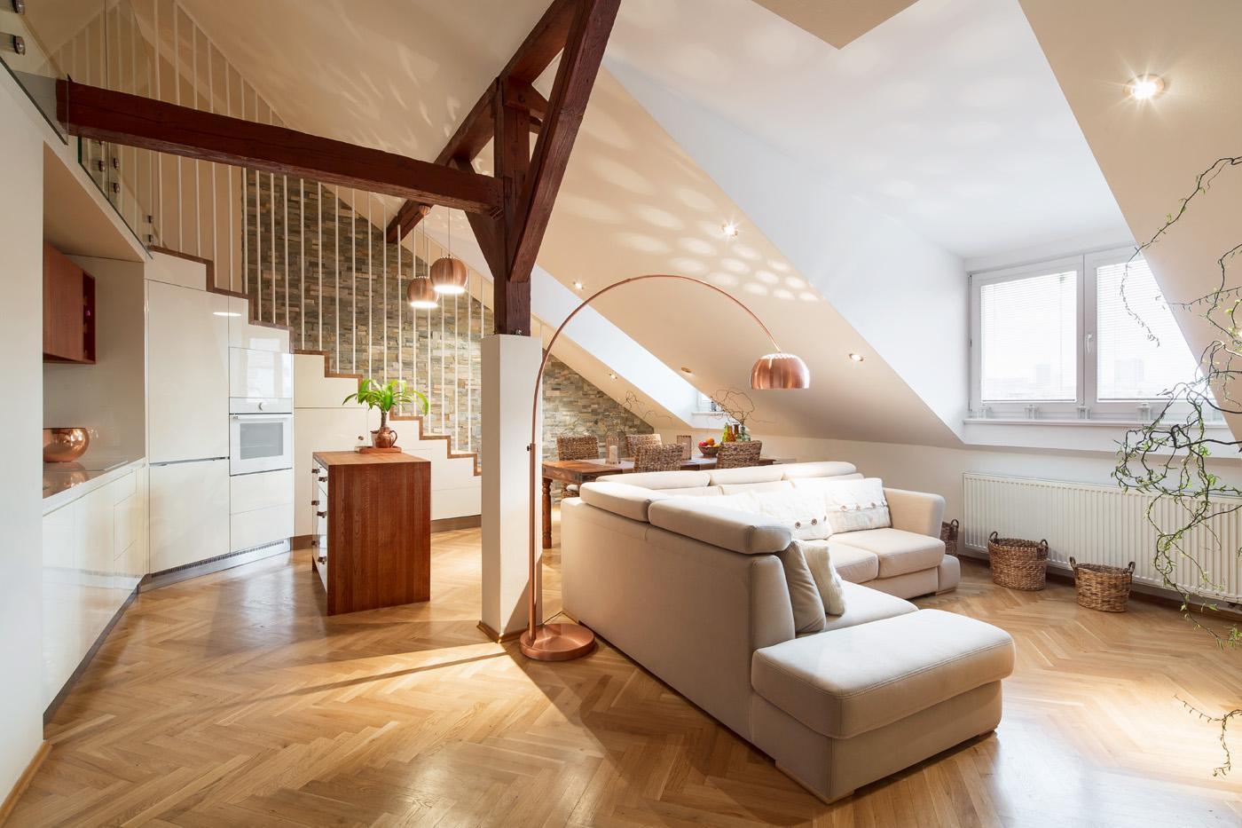 Obývací pokoj spojený s jídelnou - Byt Vinohrady