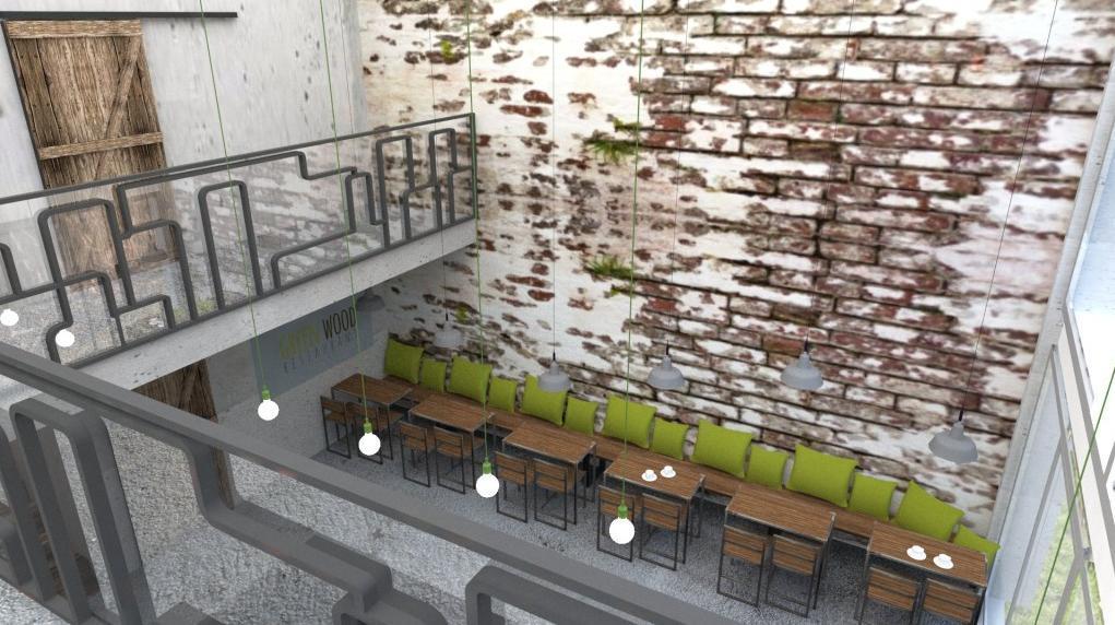 Zaujímavá tehlová stena - Reštaurácia a kaviareň v prírodnom štýle