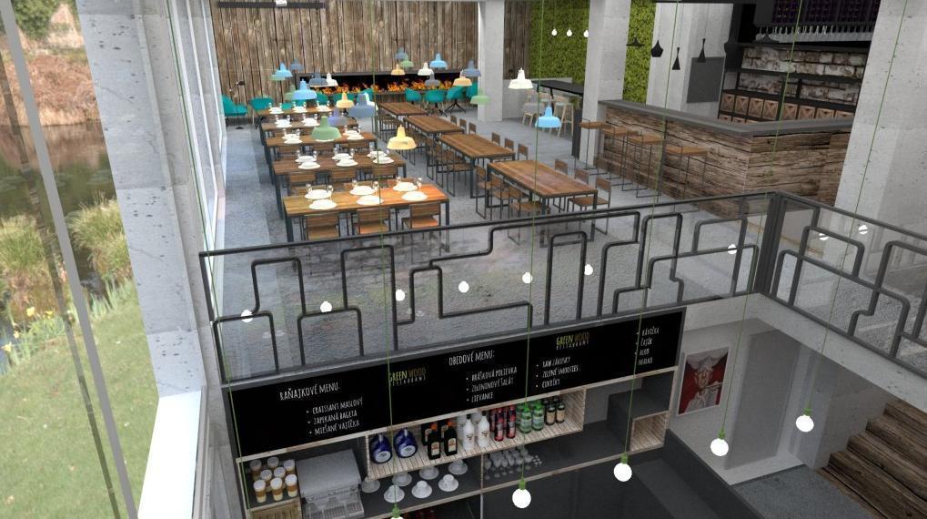 Pohľad z poschodia - Reštaurácia a kaviareň v prírodnom štýle