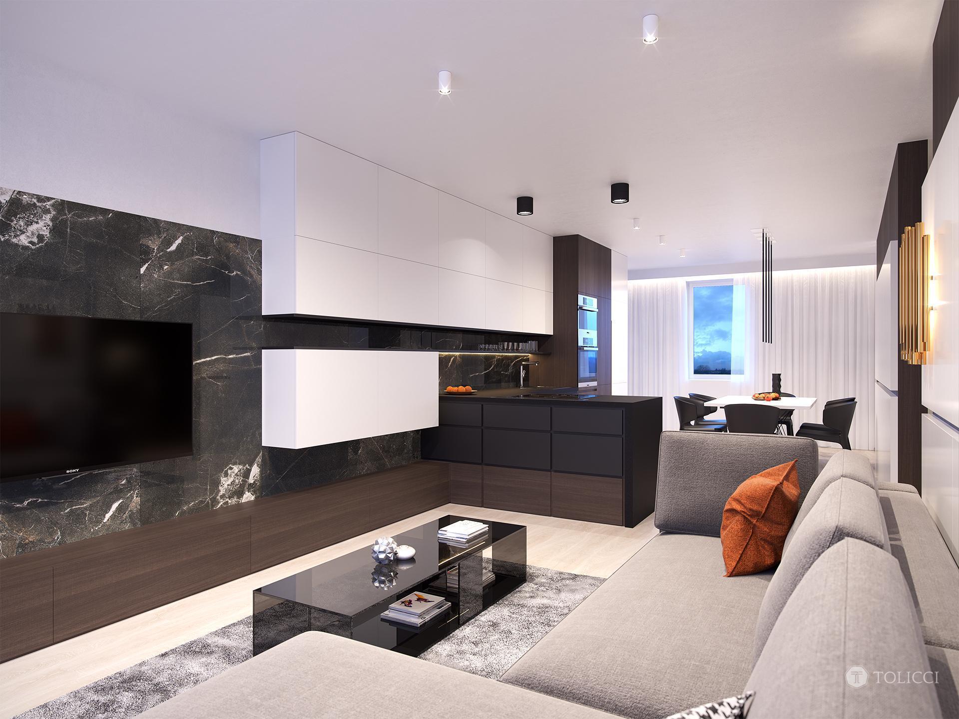 Obývačka prepojená s kuchyňou