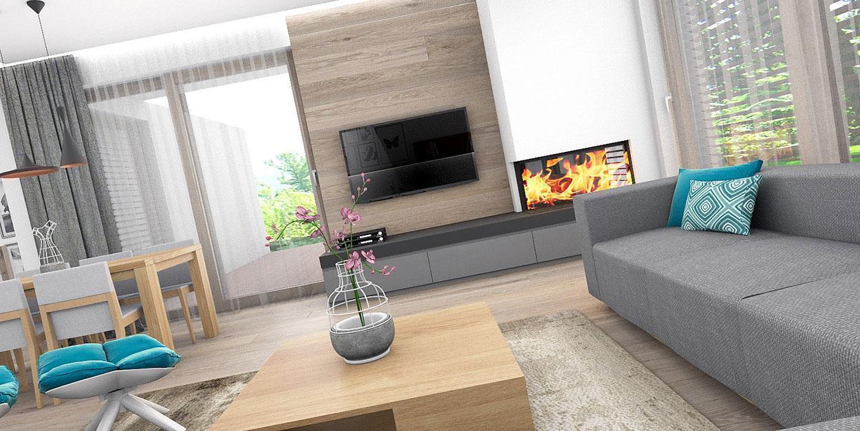 Obývačka s TV stenou