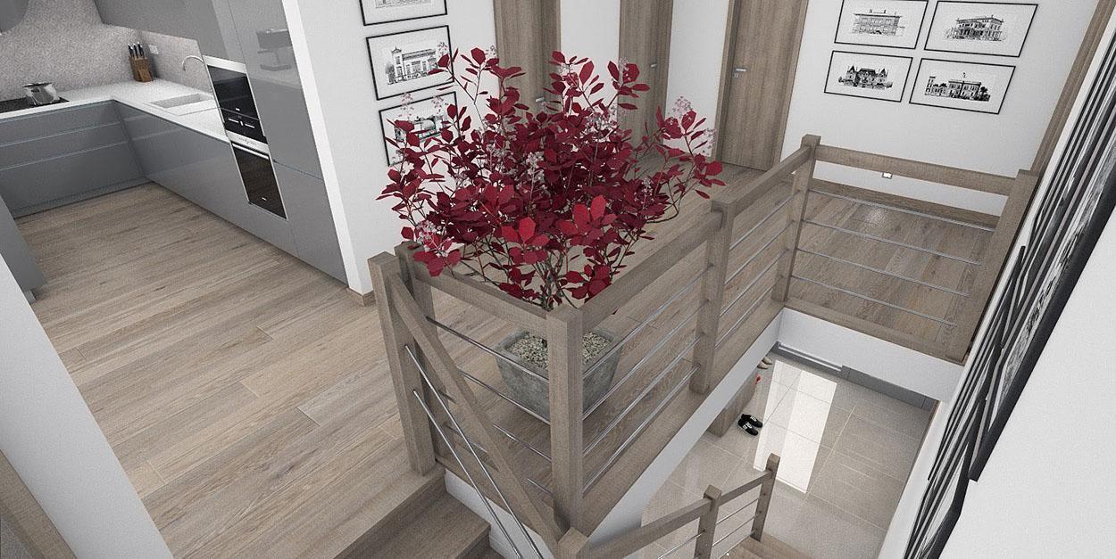 Betónové schodisko obložené drevom