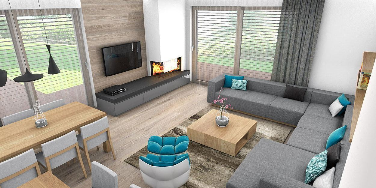 Plynový krb v obývačke