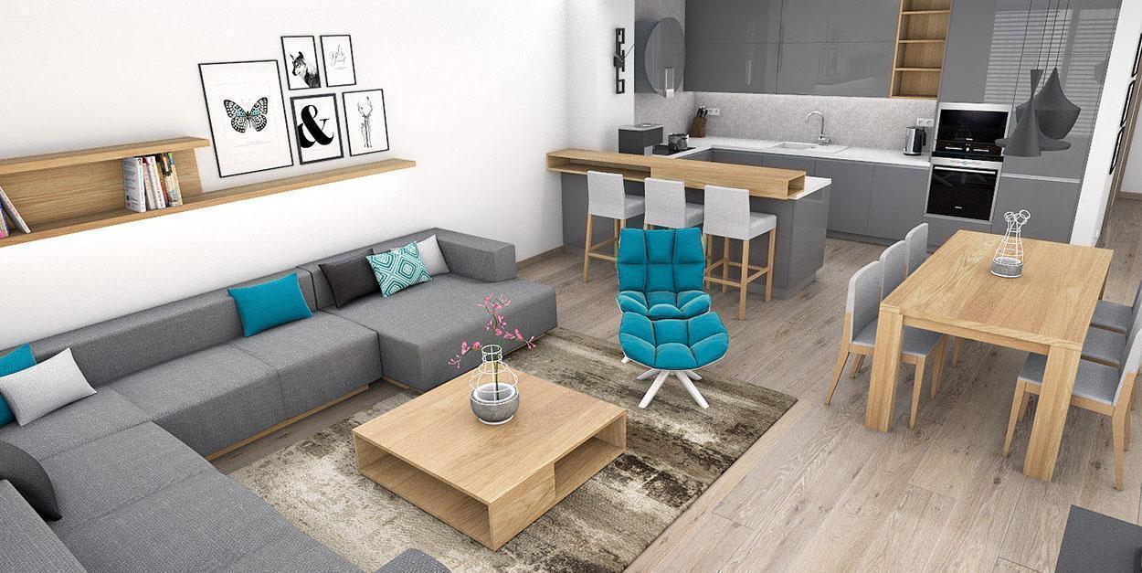 Obývačka s rohovým gaučom