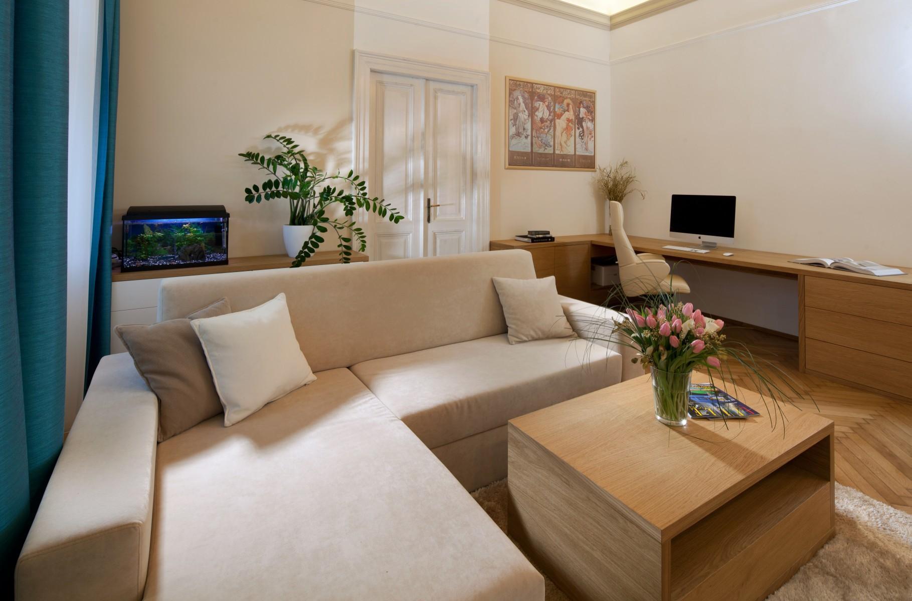 Obývačka s akváriom