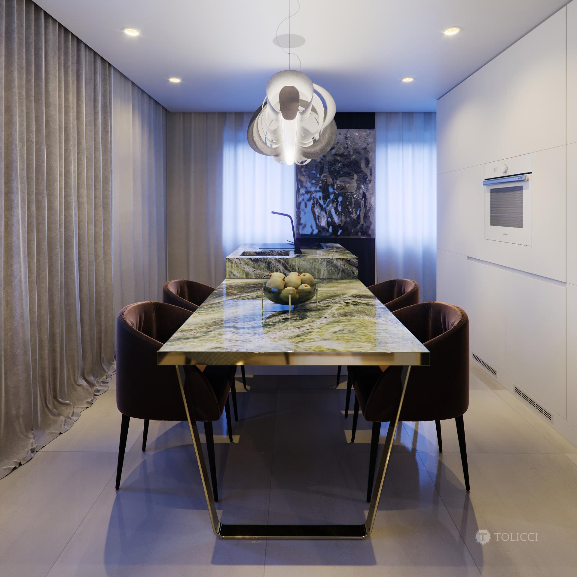 Jedáleň s dizajnovým svietdlom