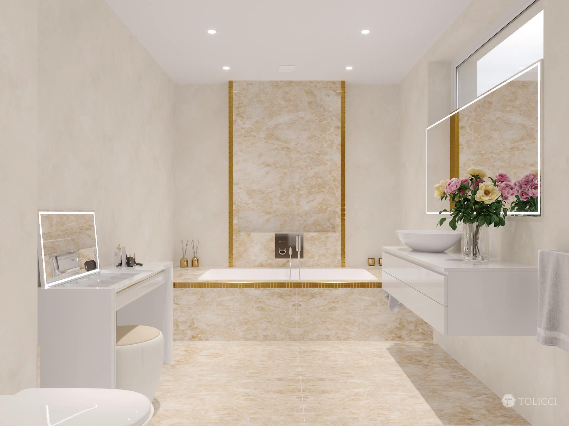 Kúpeľňa v zlatom akcente