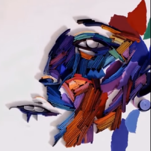 Umelecký obraz z papierikov