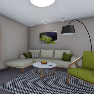 Interiér rodinného domu zo zelenými detailmi