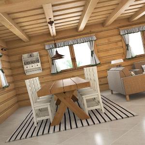 Návrh interiéru drevenice Zborov