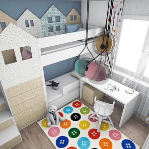 Návrh detskej izby s domčekmi