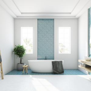 Kúpeľna s modrým akcentom