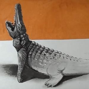 Vizuálna ilúzia - kresba 3D krokodíla