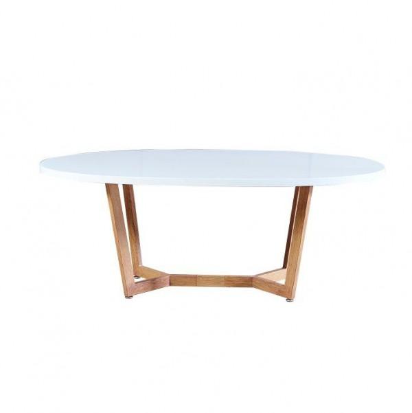 Konferenčný stolík, biela extra vysoký lesk HG/dub sonoma, GLOSY