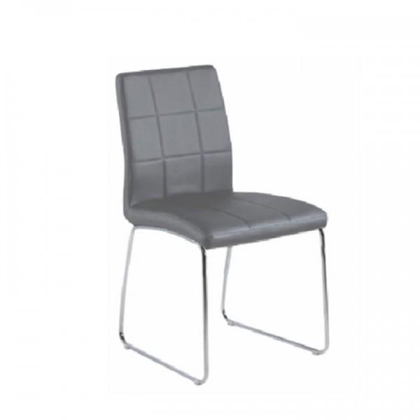 Stolička, sivá textilná koža/chróm, SIDA