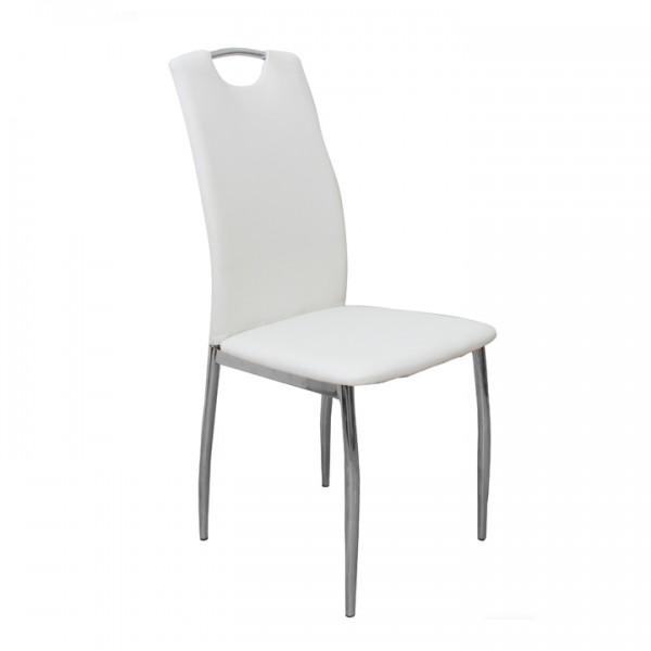TEMPO KONDELA Jedálenská stolička, ekokoža biela/chróm, ERVINA