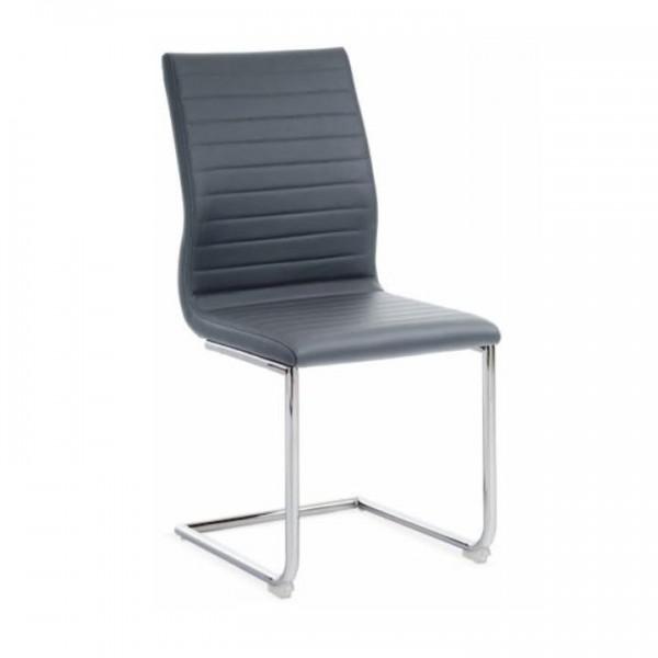 Stolička, ekokoža sivá/chróm, OTILA