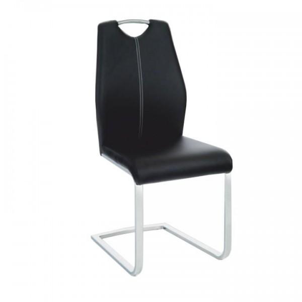 Stolička, ekokoža čierna/biele prešitie, NESTA