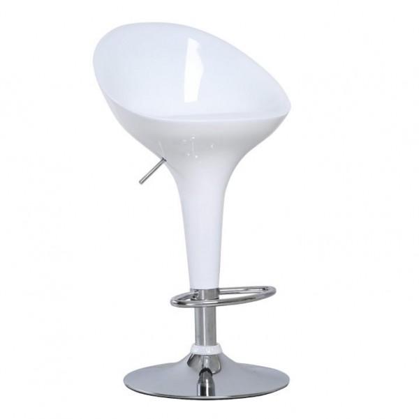 TEMPO KONDELA Barová stolička, biela/chróm, ALBA NOVA