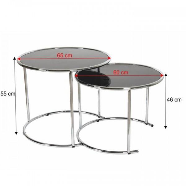 Sada 2 konferenčných stolíkov, chróm/čierne sklo, MANUEL