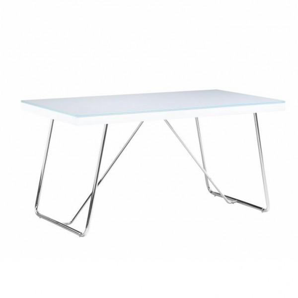 TEMPO KONDELA Jedálenský stôl, tvrdené sklo/kov, biela/chróm, AMI