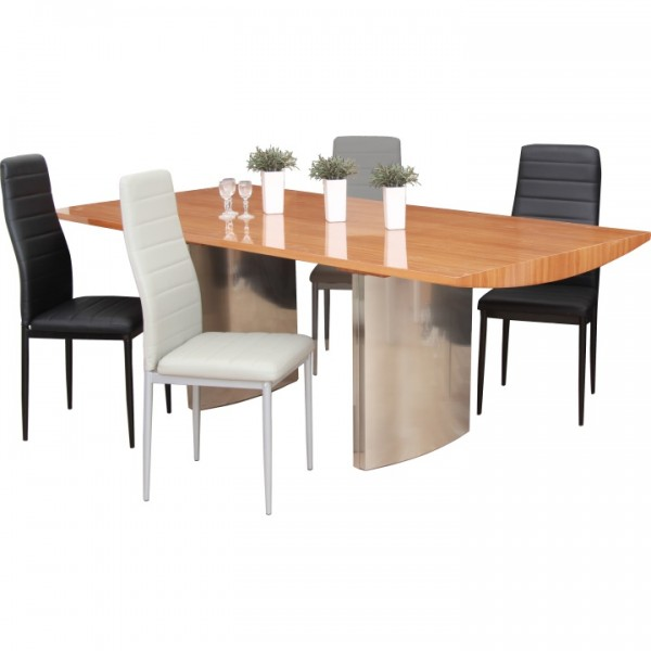 Jedálenský stôl, 200x100, MDF Buk + kov,  MADUR