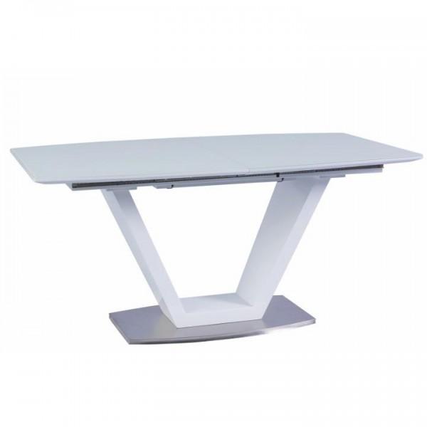 TEMPO KONDELA Jedálenský stôl, rozkladací, biela extra vysoký lesk/oceľ, PERAK