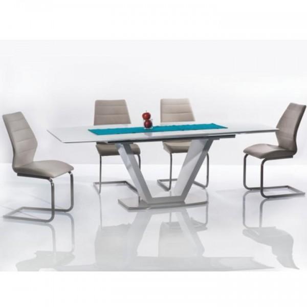 Jedálenský stôl, rozkladací, biela extra vysoký lesk/oceľ, PERAK