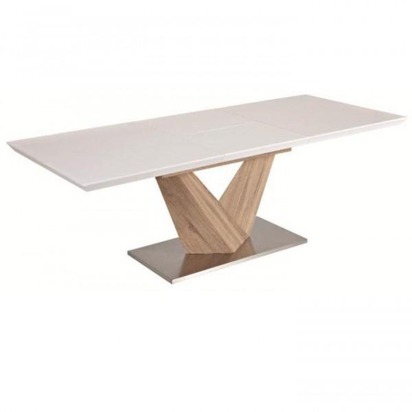 TEMPO KONDELA Jedálenský stôl, biela extra vysoký lesk HG/dub sonoma, DURMAN
