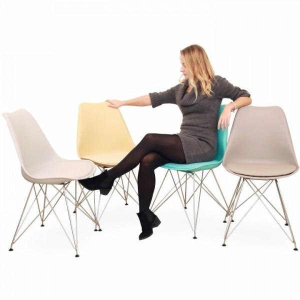 Stolička, teplá sivá/chróm, METAL NEW