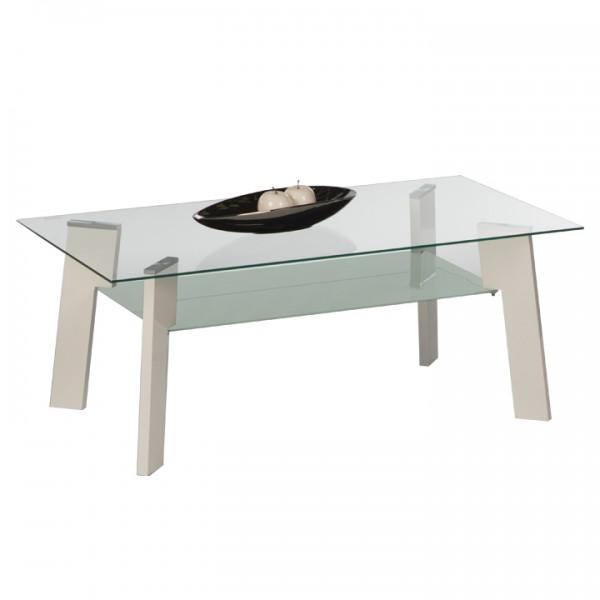 TEMPO KONDELA Konferenčný stolík, biela HG/sklo číre/mliečne, ADELO
