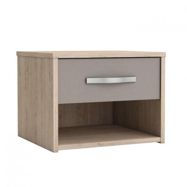 TEMPO KONDELA Nočný stolík so zásuvkou, dub arizona/sivá, GRAPHIC