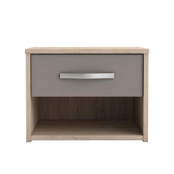 Nočný stolík so zásuvkou, dub arizona/sivá, GRAPHIC