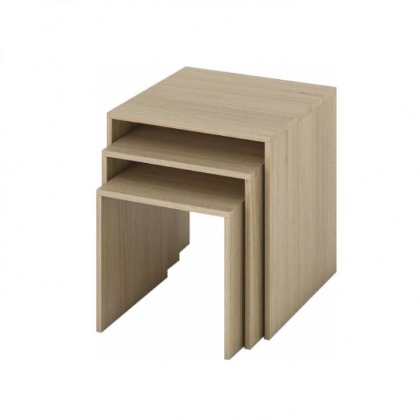 Sada troch príručných stolíkov, dub sonoma, SIPANI NEW
