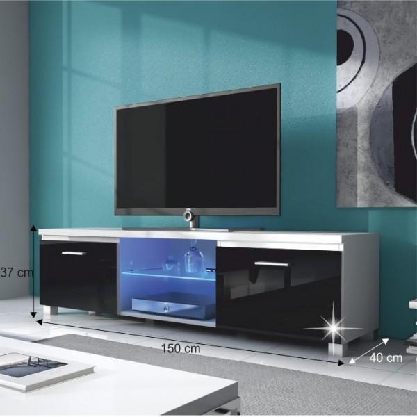 RTV stolík, biela/čierna extra vysoký lesk HG, LUGO 2