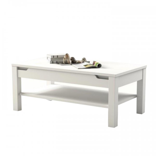 TEMPO KONDELA Konferenčný stolík, biela/biela s extra vysokým leskom, ADONIS AS 96