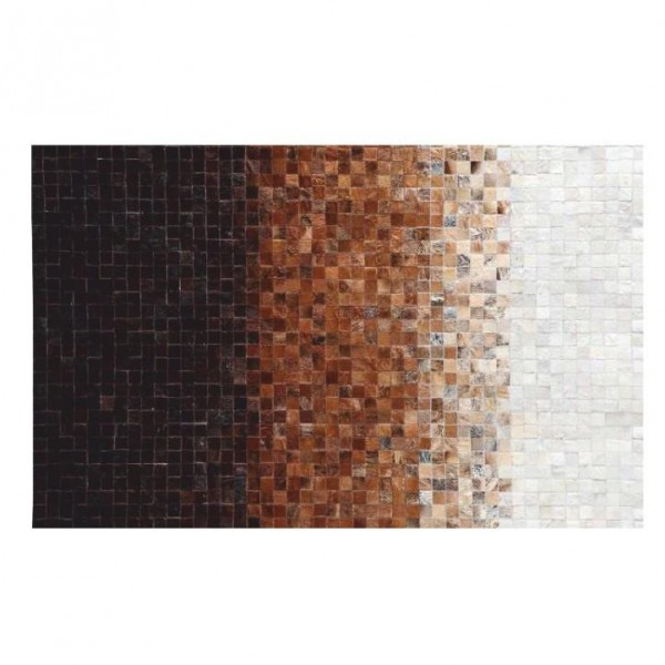 Luxusný kožený koberec, biela/hnedá/čierna, patchwork, 170x240, KOŽA TYP 7