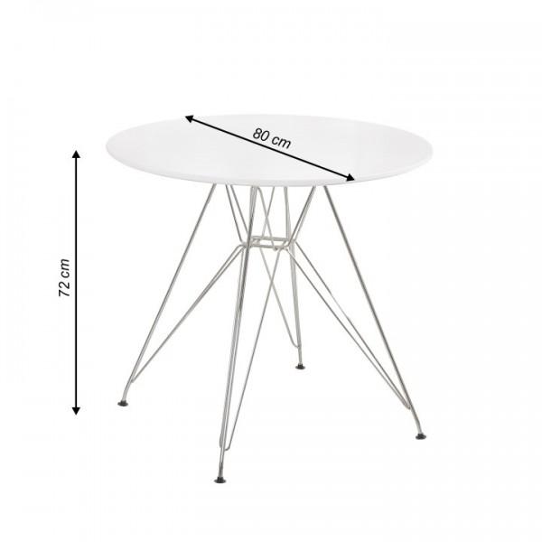 Jedálenský stôl, chróm/MDF, biela extra vysoký lesk HG, RONDY