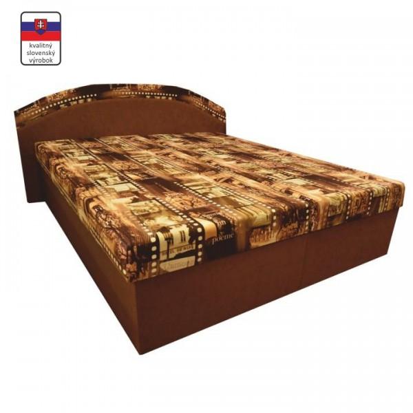 TEMPO KONDELA Manželská posteľ, s penovými matracmi, hnedá/vzor, PETRA