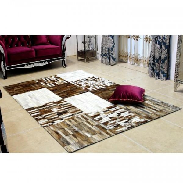 Luxusný kožený koberec, čierna/hnedá/biela, patchwork, 171x240, KOŽA TYP 4