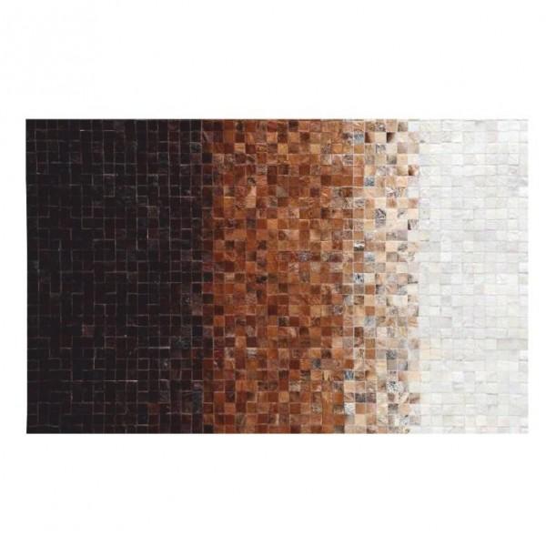 TEMPO KONDELA Luxusný kožený koberec, biela/hnedá/čierna, patchwork, 200x300, KOŽA TYP 7