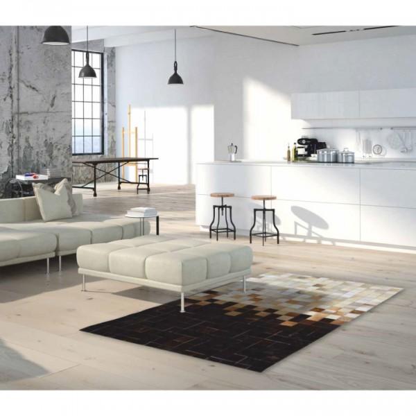 Luxusný kožený koberec, biela/hnedá/čierna, patchwork, 200x300, KOŽA TYP 7