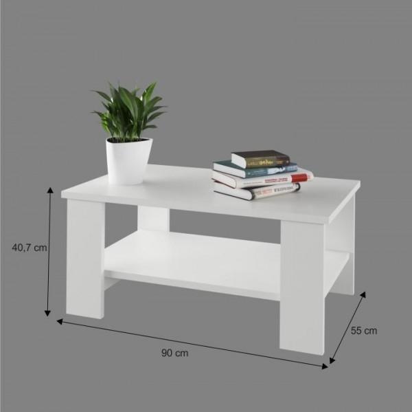 Konferenčný stolík, biela, BERNARDO