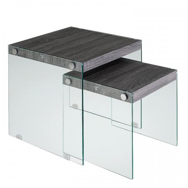 Set 2 konferenčných stolíkov, tvrdené sklo/drevo, MOHAN