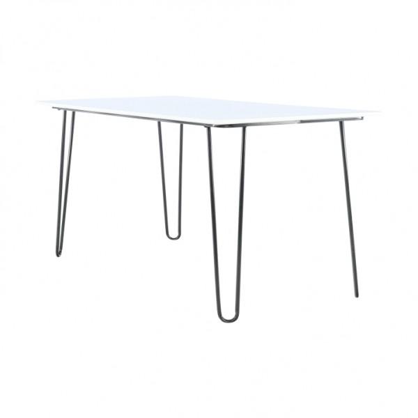 Jedálenský stôl, biela/kov, KURT